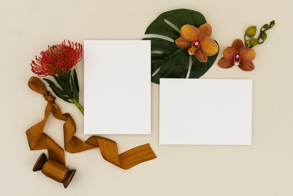 Tropical themed stationery layout