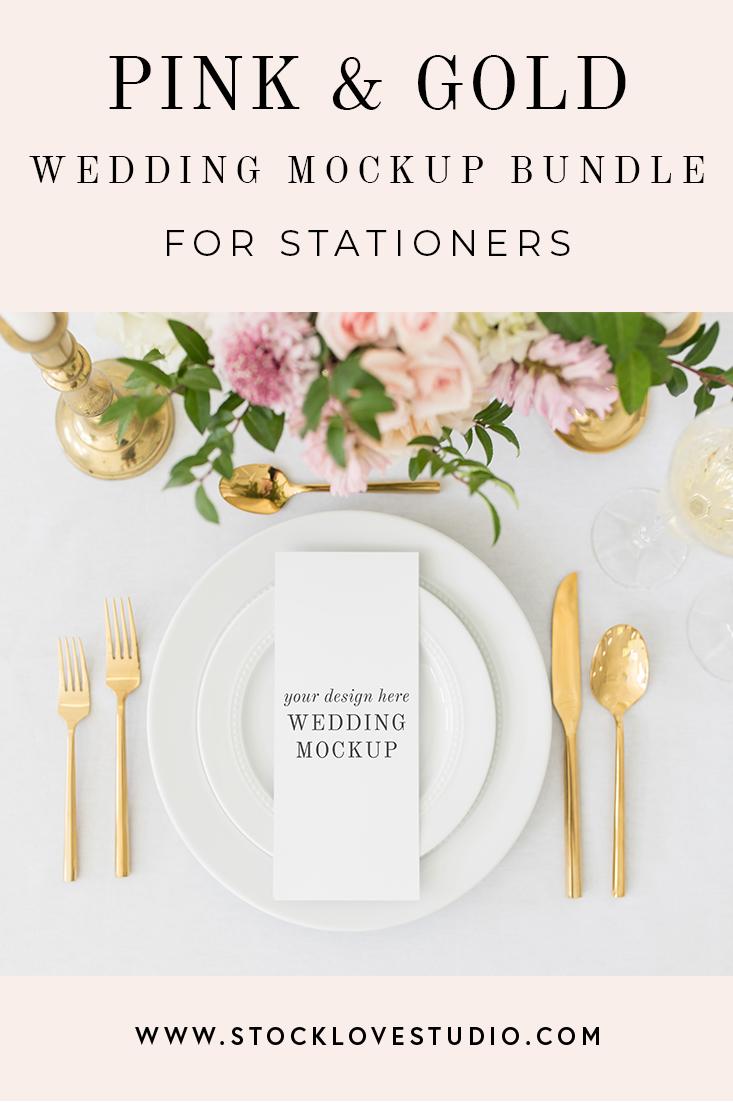 e66b32aae1d Pink   Gold Wedding Mockup Bundle — Stock Love Studio