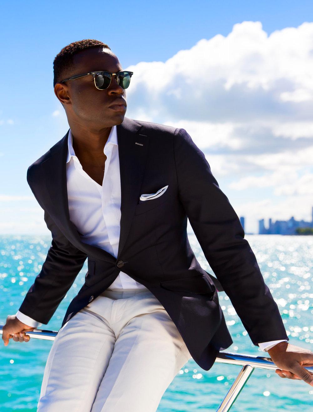 custom tailored blue blazer