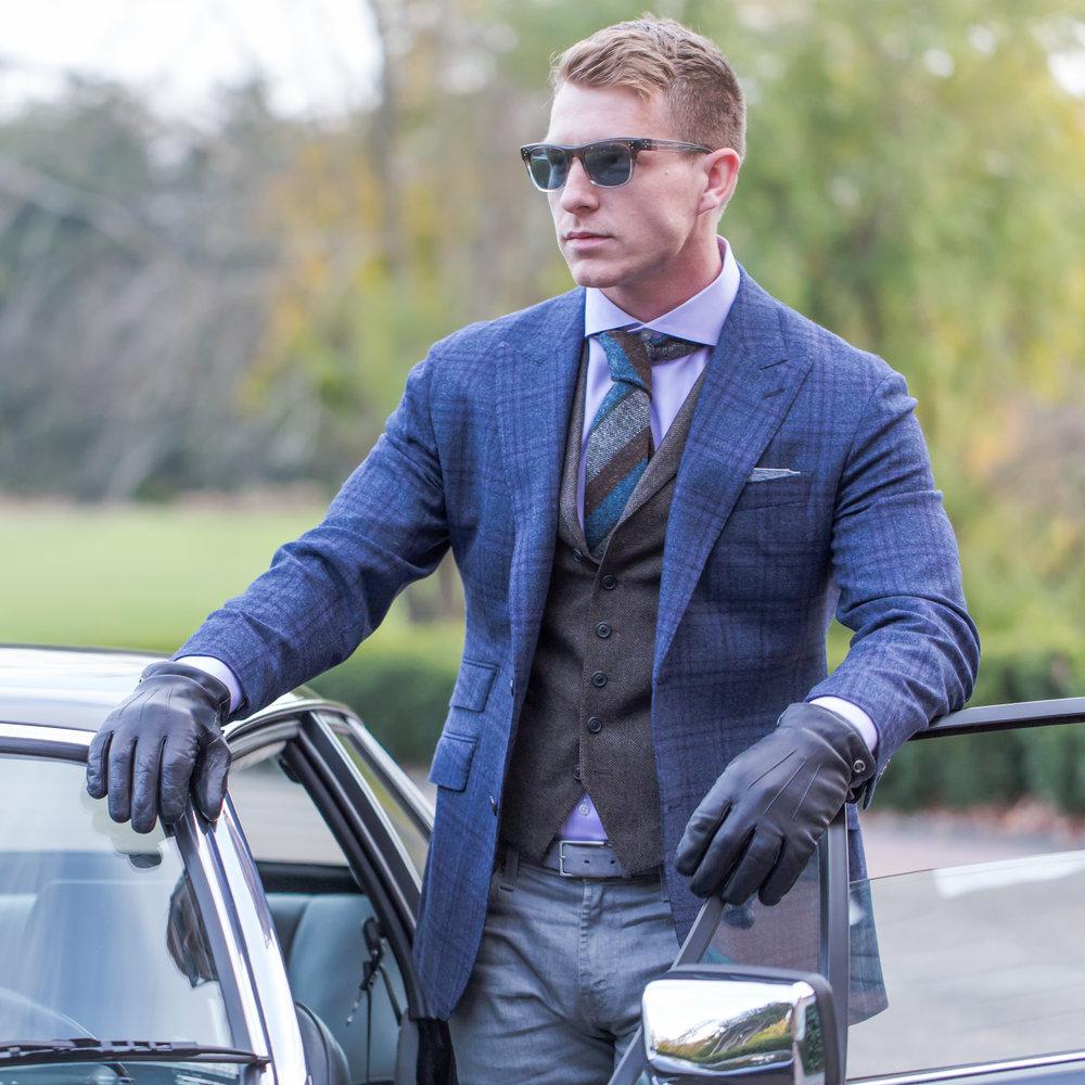 custom blue plaid sport coat and tweed vest
