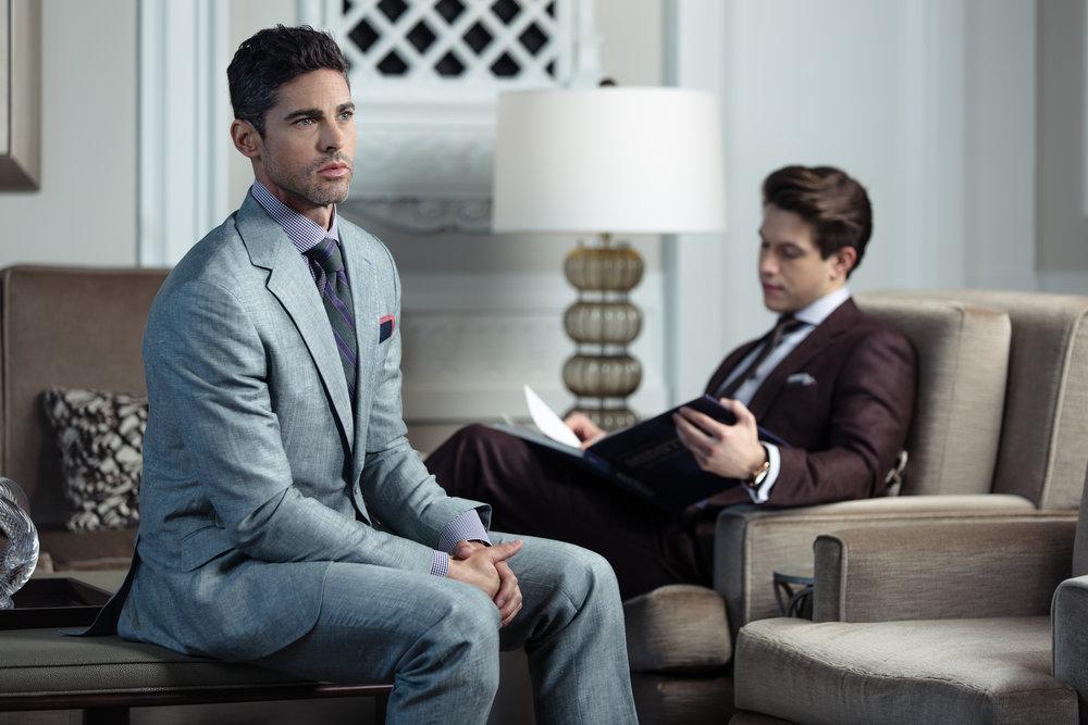 Daniel George bespoke flannel suit