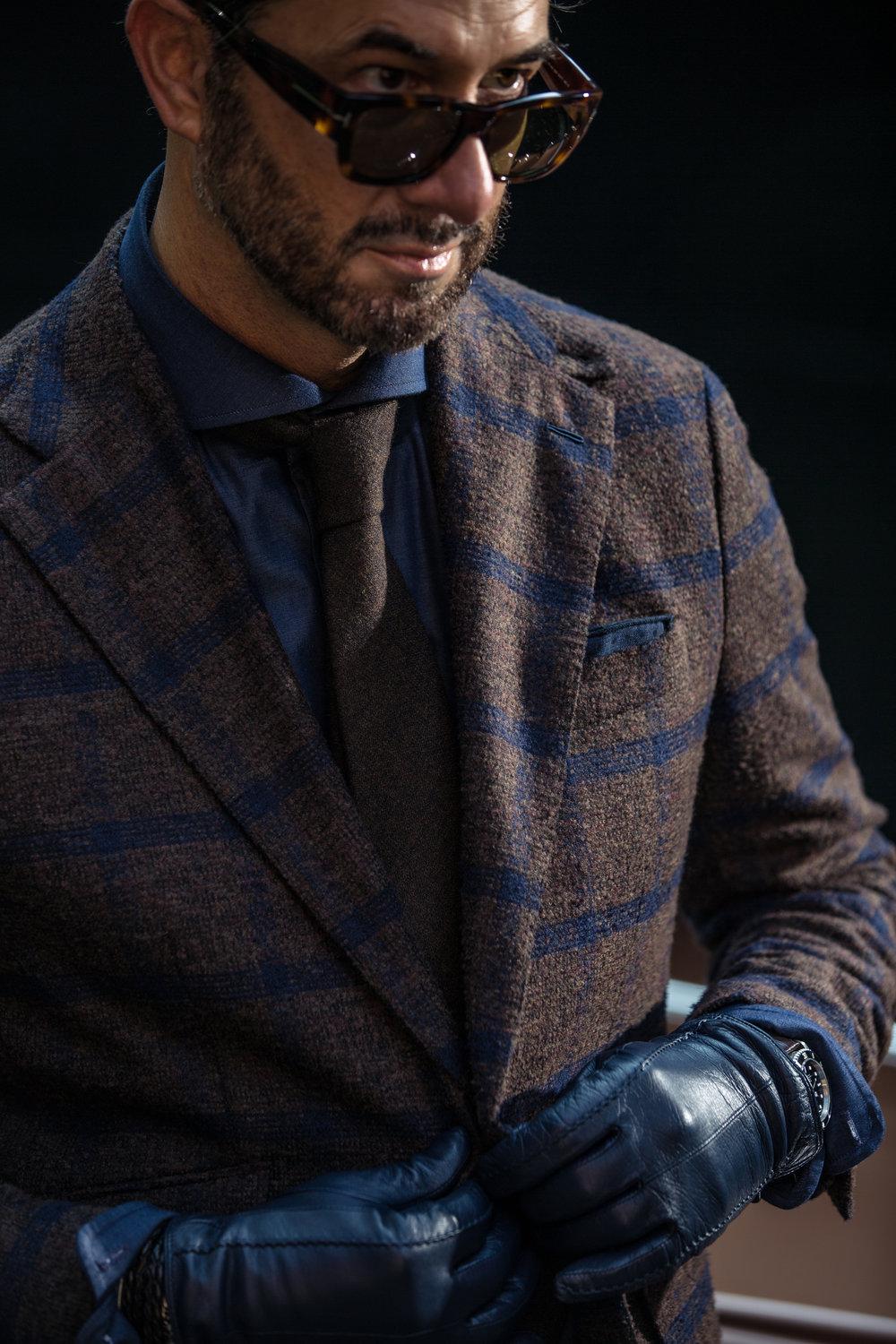 Daniel George custom brown plaid sport coat