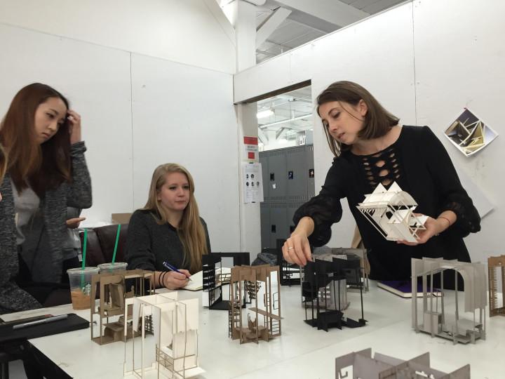 """Irina teaching students in her senior interior design studio, """"Deviant Acts of Design"""" at Pratt Institute, 2015. Photo: Rebecca Levitt"""