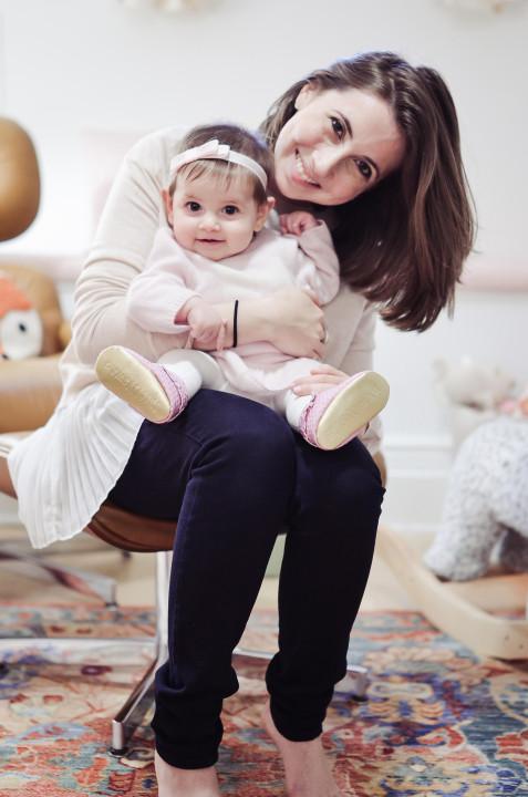 Irina at home with her daughter, Alexandra, 6 months. Photo: Keren Vered