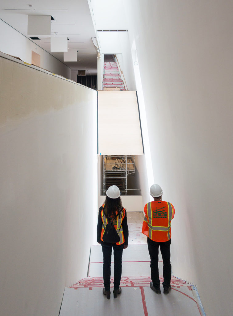Elaine and Craig at the construction site of the San Francisco Museum of Modern Art