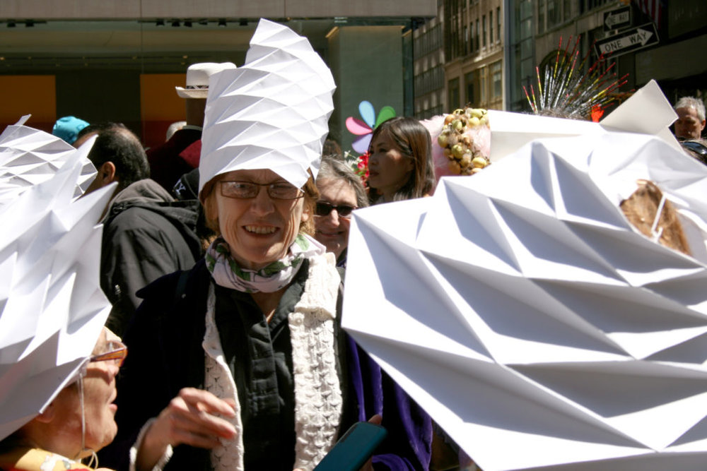 Sandra at two Eastern Parades with her origami creations