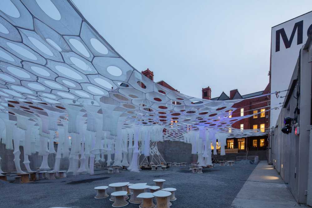 Lumen by Jenny Sabin Studio for The Museum of Modern Art and MoMA PS1's Young Architects Program 2017. Photography by Pablo Enriquez