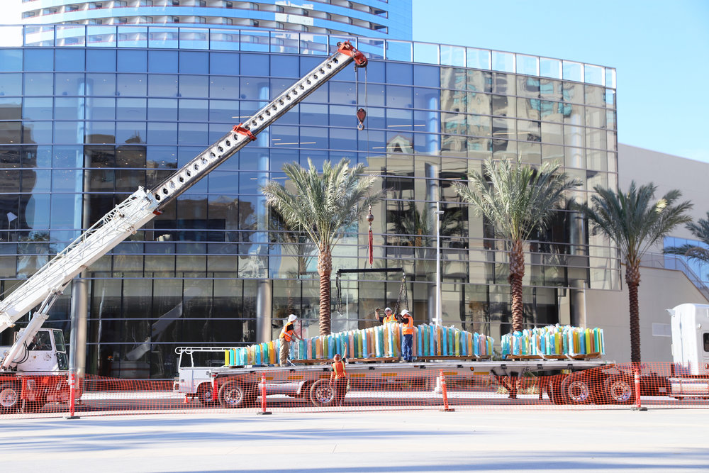 Installation of Sea Form No. 2 at the Marina Walk in San Diego, CA.