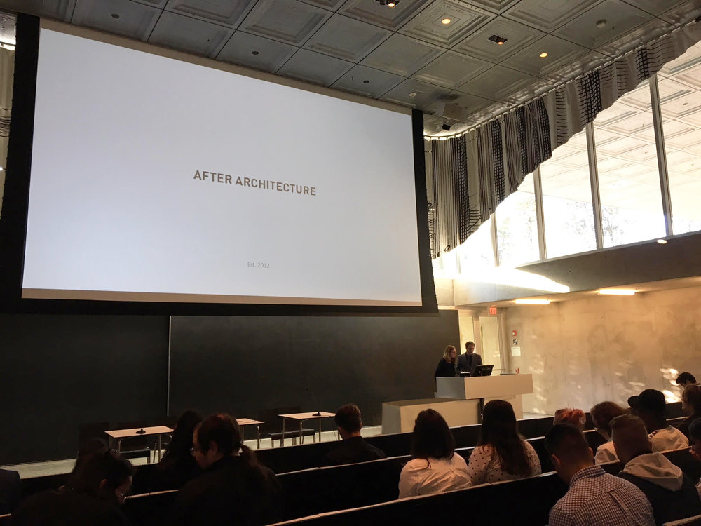 After Architecture presentation at Milstein Hall, Cornell University