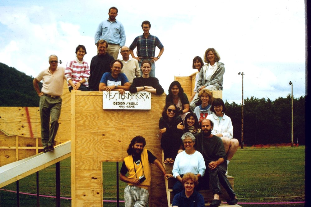 Sylvia with Yestermorrow at the construction of the Warren Elementary School, 1988