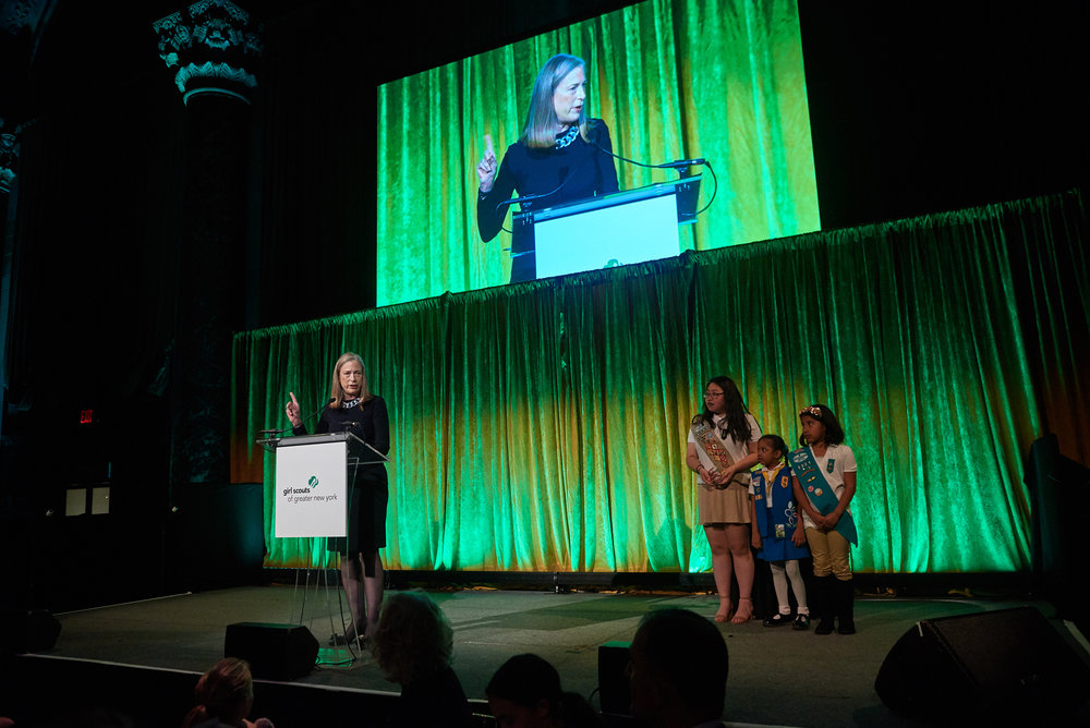 Sylvia accepting the Women of Distinction Award from the Girl Scouts of Greater New York