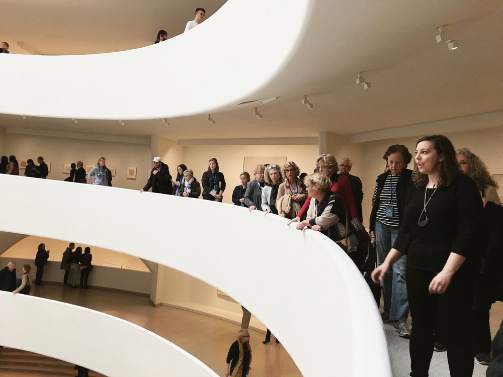 Ashley leading a tour at the Guggenheim, photo by Jackie Park
