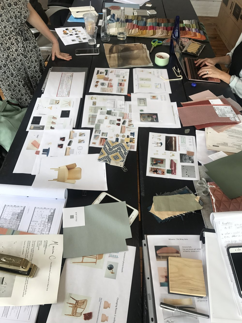 Behind the scenes of The Wing design process - design review with   Chiara de Rege Interiors .