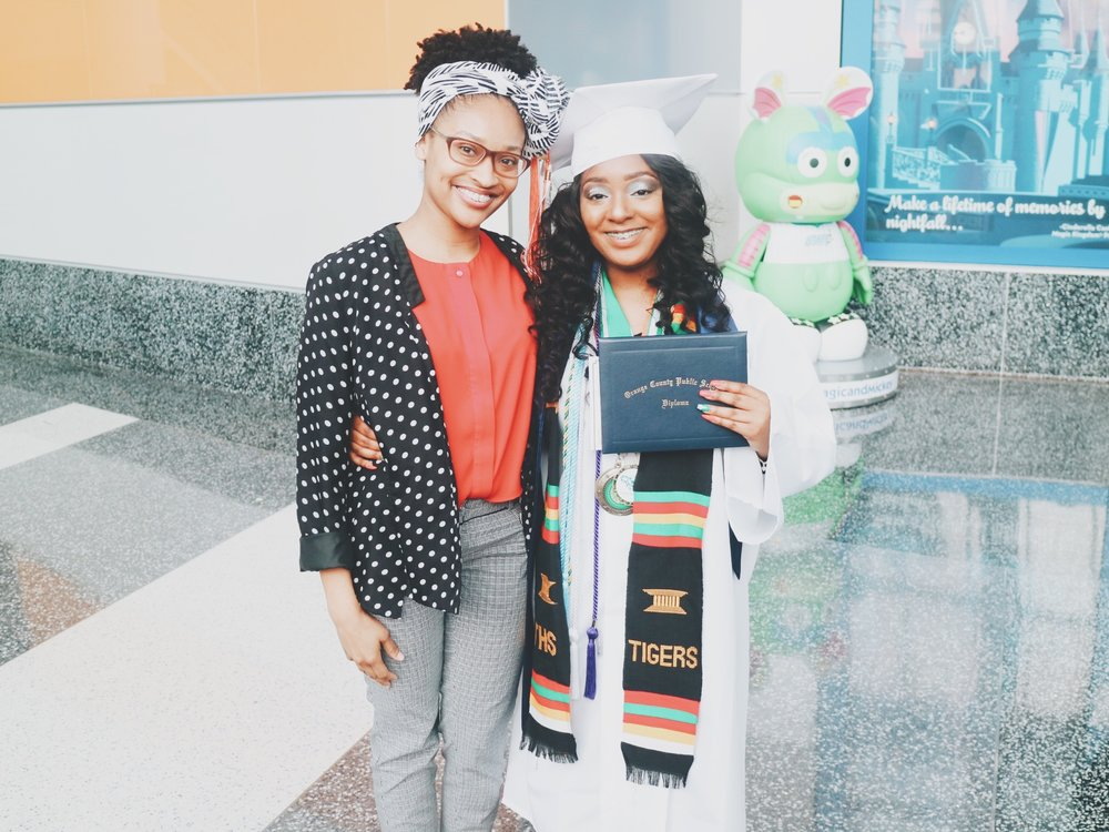 Elease with mentee, Mashayla Scott,at her graduation from Elease's High School Alma Mater, Jones High School. Mashayla graduated exactly ten years after Elease.