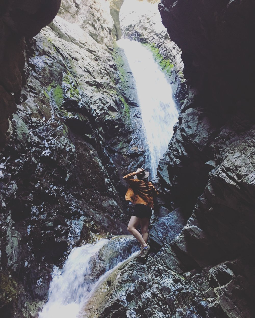 Ashley at Zapata Falls in Colorado during her cross-country drive to California