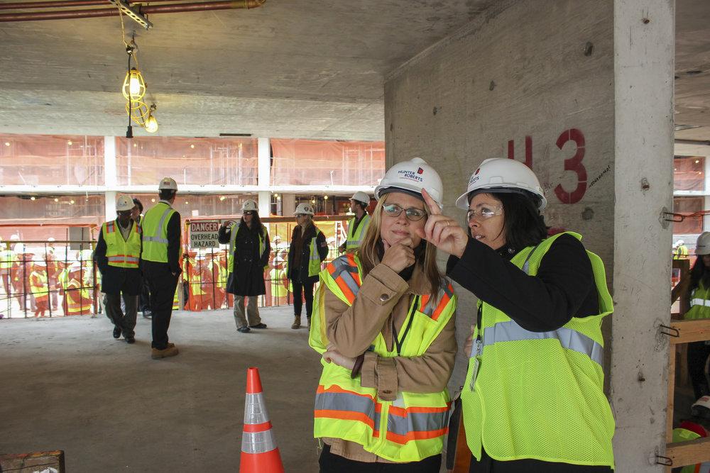 Amanda Kaminsky and Sydney on a jobsite, courtesy of the Durst Organization