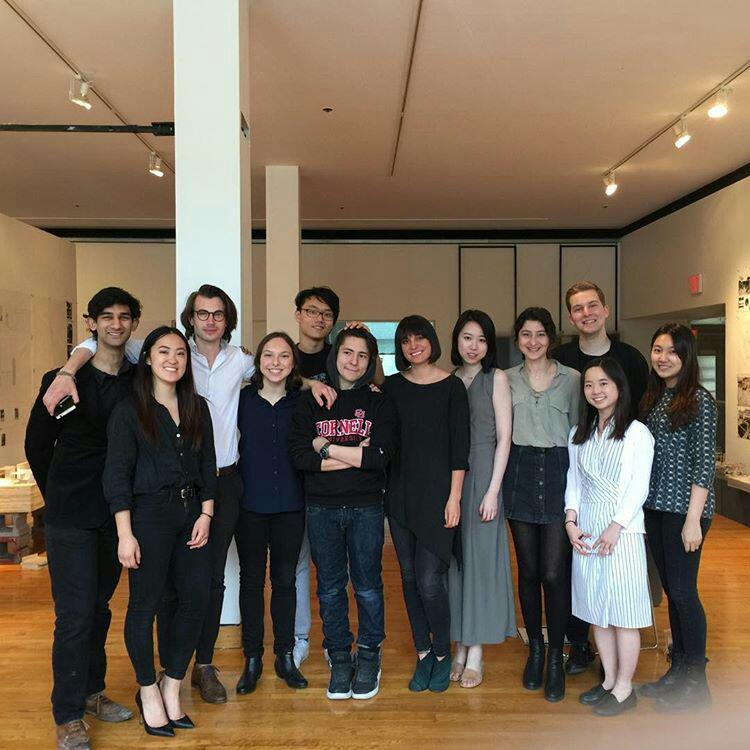Isabel with her students at Cornell AAP's Spring 2017 Design II Final Review
