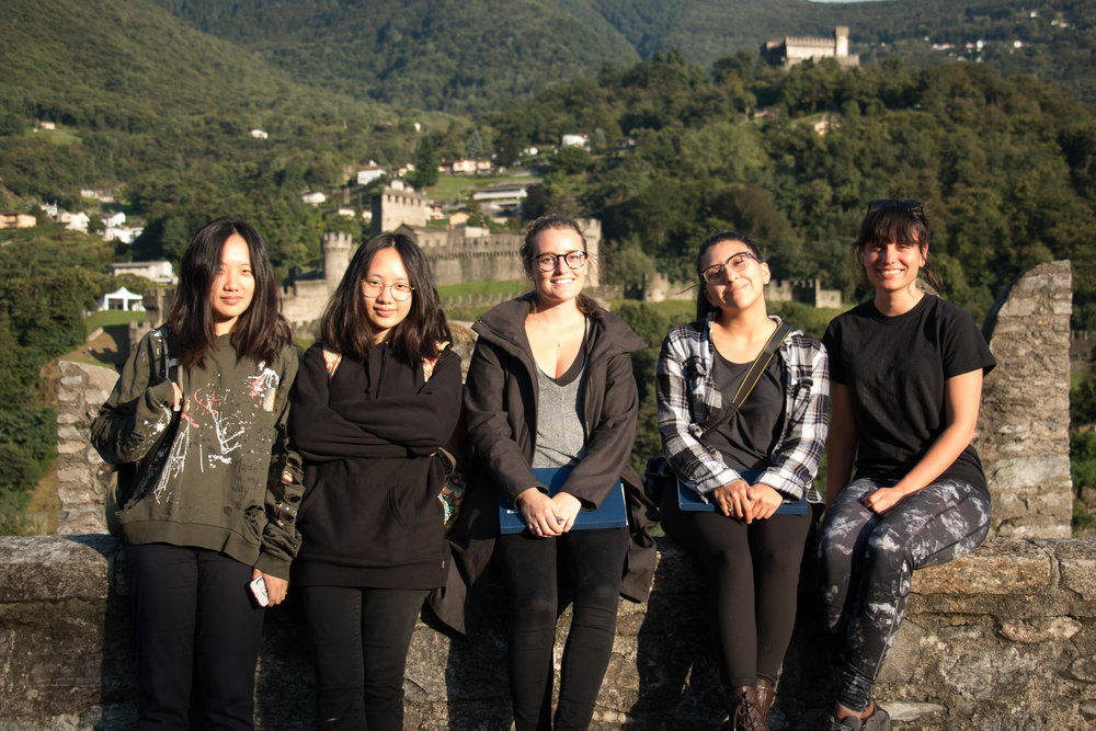Isabel with her Foundation in Architecture students on a field trip to visit Aurelio Galfetti's restoration/intervention at Castelgrande in Bellinzona, Switzerland.