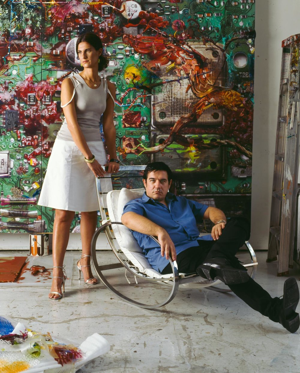Galia with her husband, artist, Fabian Marcaccio, in front of his artwork commissioned for Documenta X in 2002.