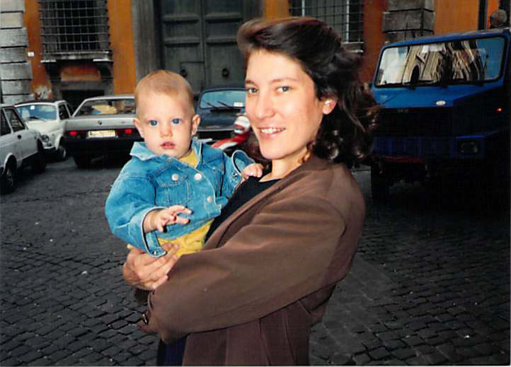 Andrea and baby Eva in Rome, 1991