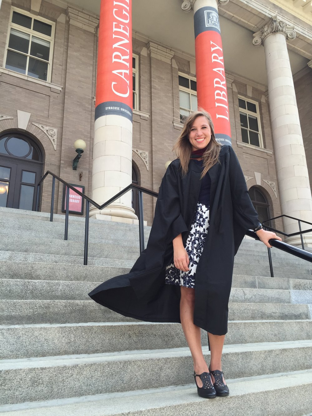 Sydney graduating from Syracuse University's Newhouse School of Communications, with a Masters in Arts Journalism, Architecture - May 2015