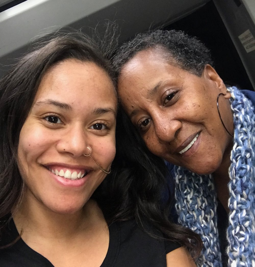 Jha D with her mother, earlier this year in Montgomery, Alabama.