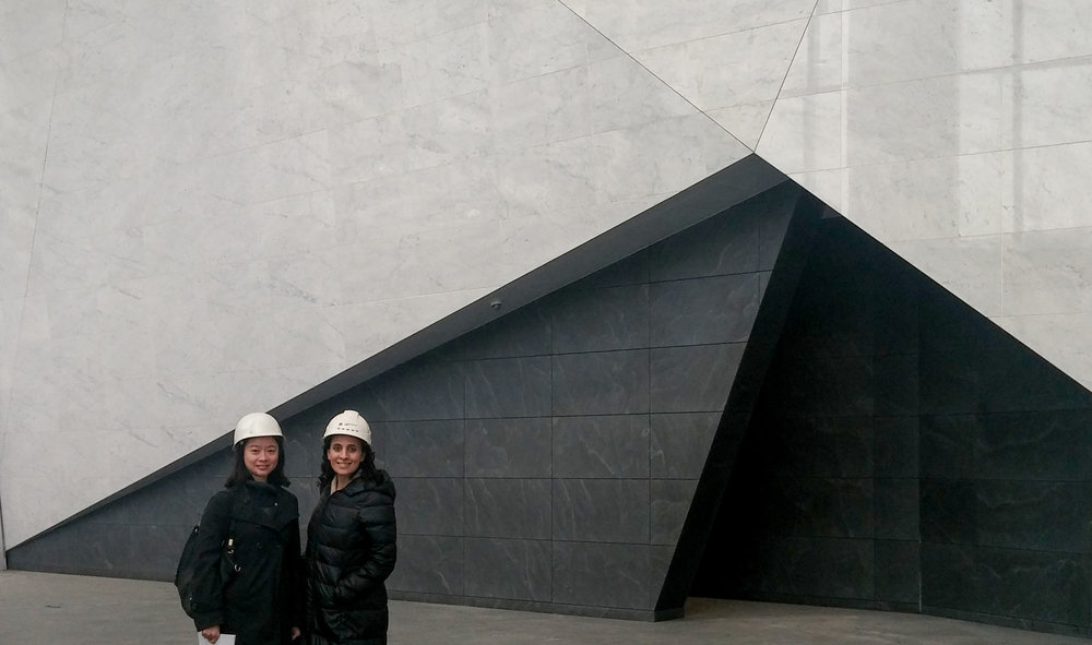 Hana and a colleague at the Crystal Plaza Shanghai Lobby site visit.