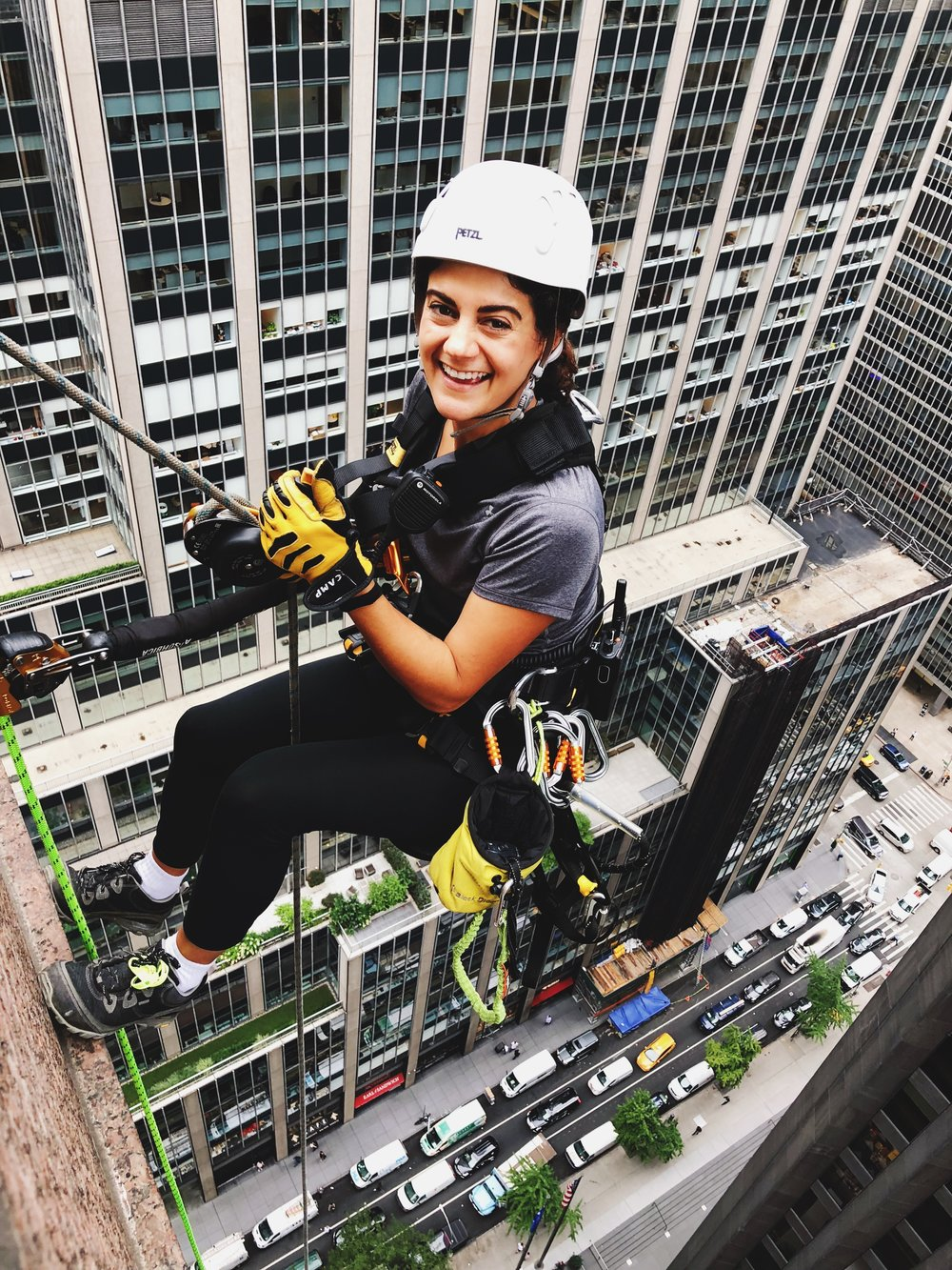 Elyse on rope access at 31 West 57th Street
