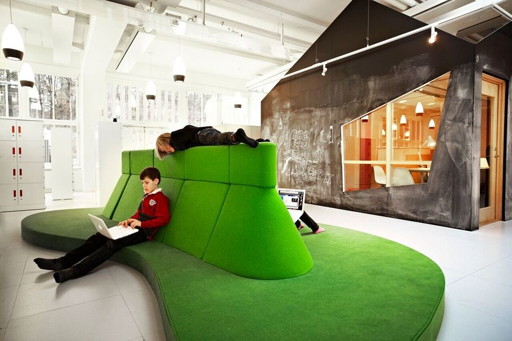 Image from The Design of Childhood; Island   Area and Media Lab, Vittra School Telefonplan, Stockholm, Sweden, 2011, Rosan   Bosch Studio. Photograph by Kim Wendt.