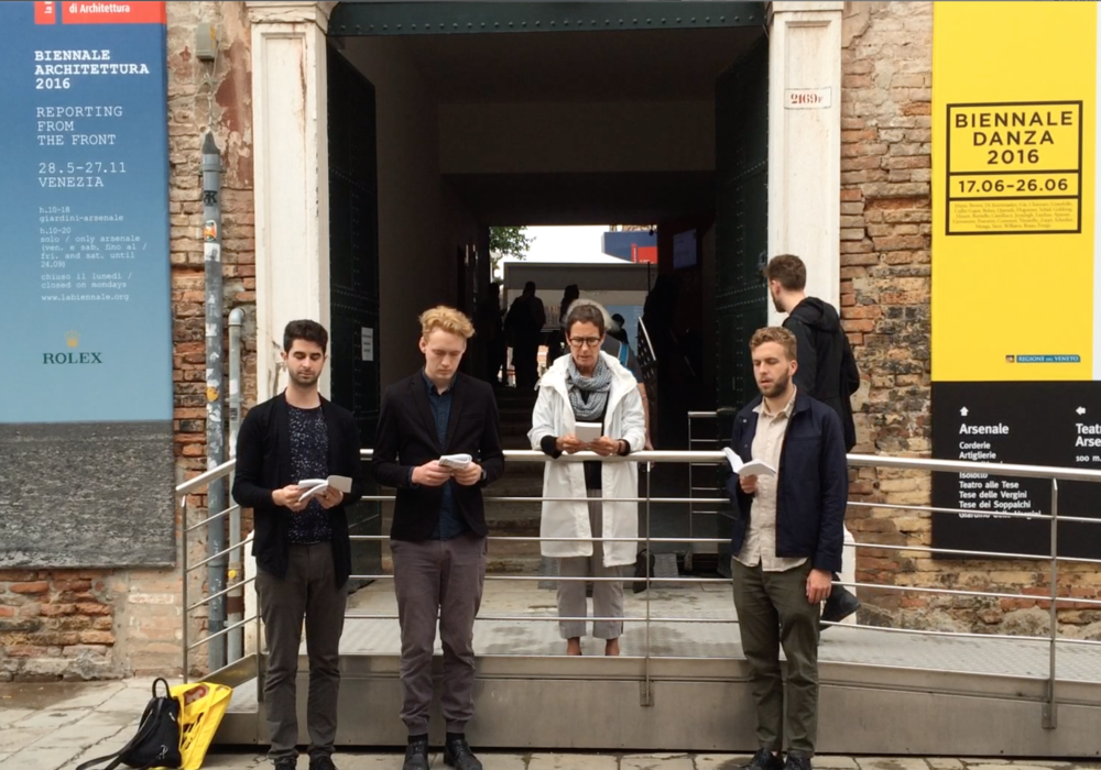 Architecture Lobby protest at the Venice Biennale in 2016.