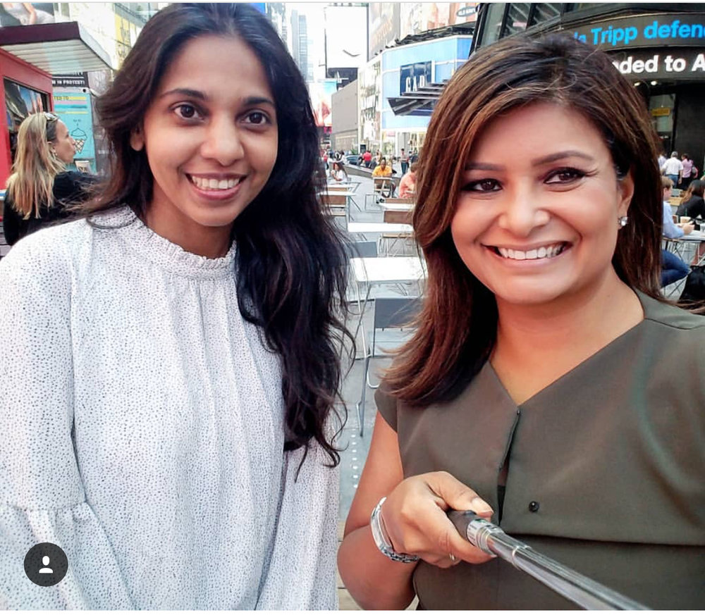 Mary's interview with Joya Das regarding the app LABYL in Times Square, New York