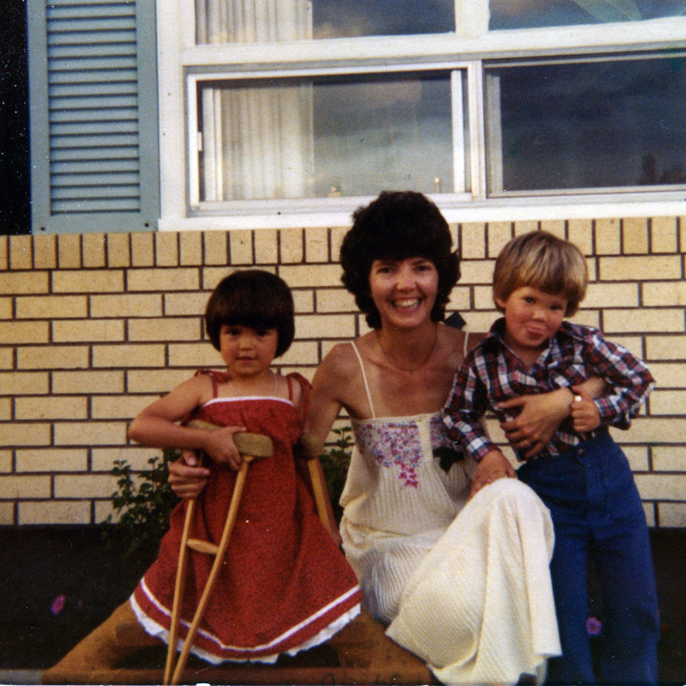 Kristen Becker with mom Marie Welton and brother Ryan, Spring 1979.