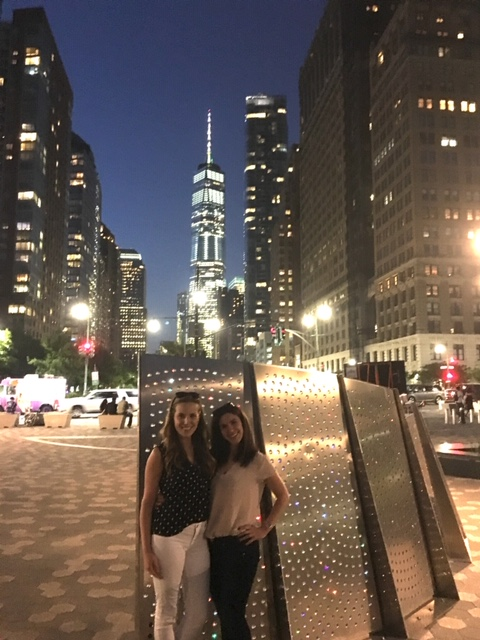 Sarah and a friend on a walk in downtown NYC