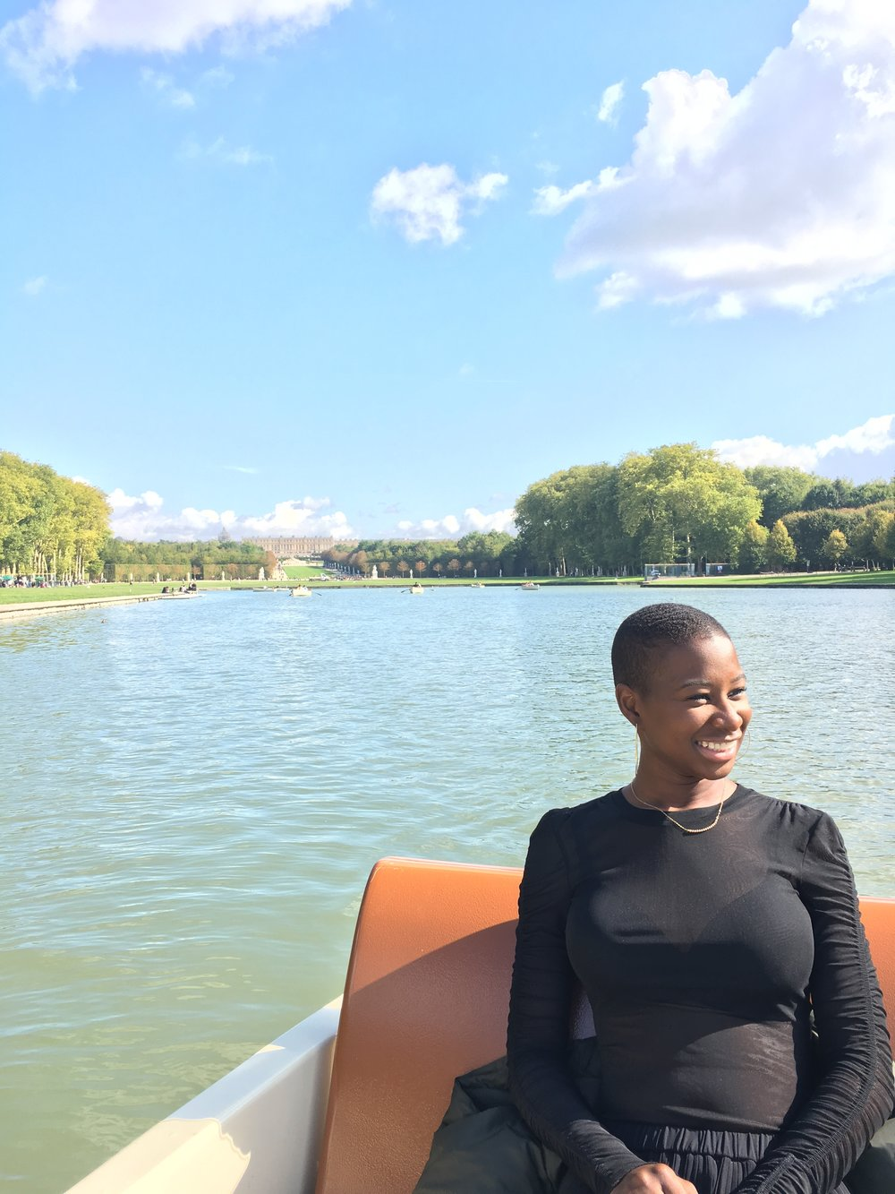Samantha on the Versailles canal.