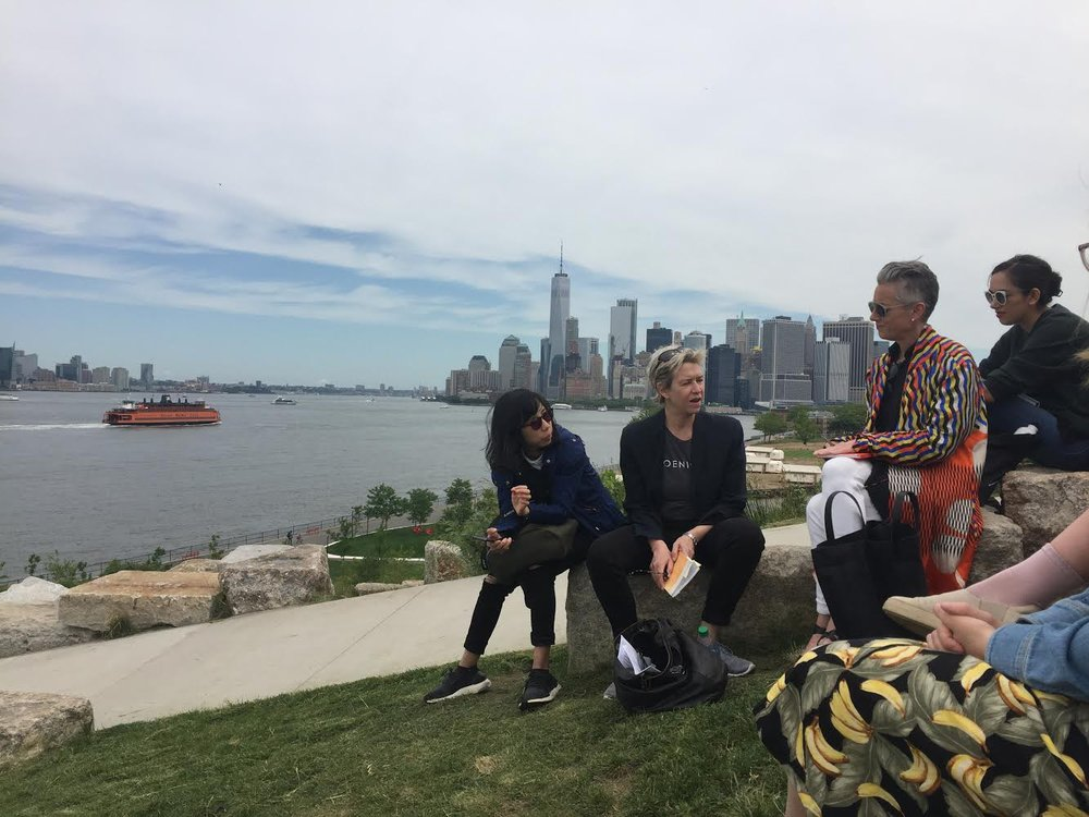 Karrie with her SVA students on the hills of Governors Island.