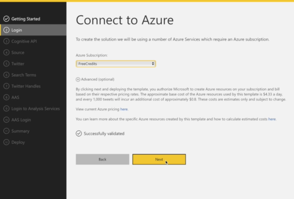2) Connect to Azure  If you don't have an Azure account, don't hesitate to get one at this point - every modern organization can benefit from an Azure account.  If you have an Azure account, sign in and select which Azure subscription to use.