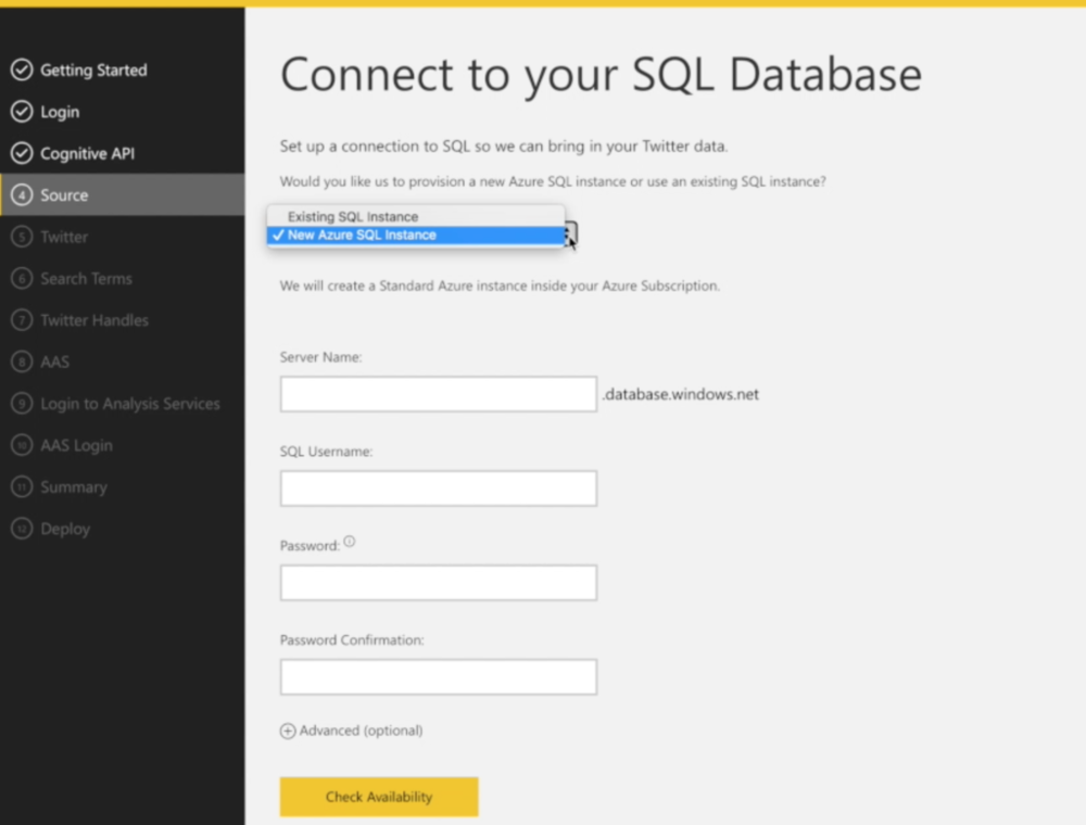 4) Azure SQL Database  Typically Solution Templates use either BLOB on Azure SQL for data storage.  This step creates a SQL database in Azure SQL in either an existing instance of Azure SQL or it creates a new Azure SQL instance.