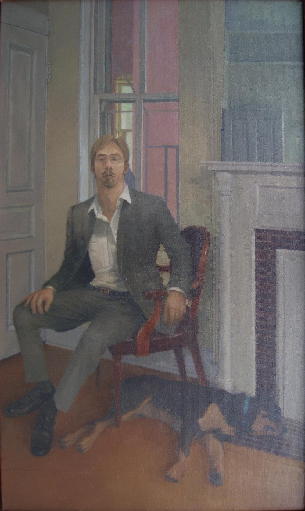 Portrait with Dog, Oil on Linen, 24%22x14%22.JPG