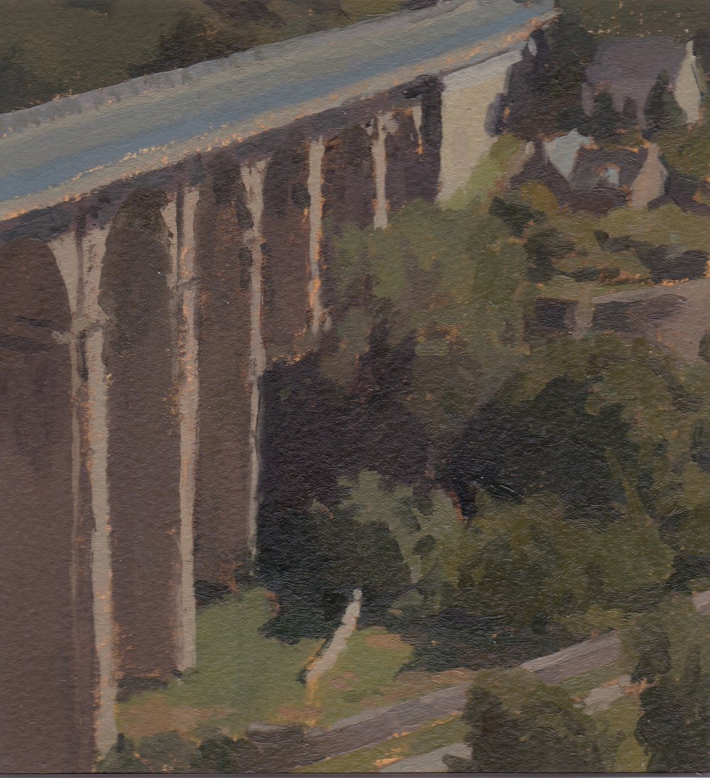 The Viaduct, Dinan, Oil on Paper, 6%22x6%22.jpg
