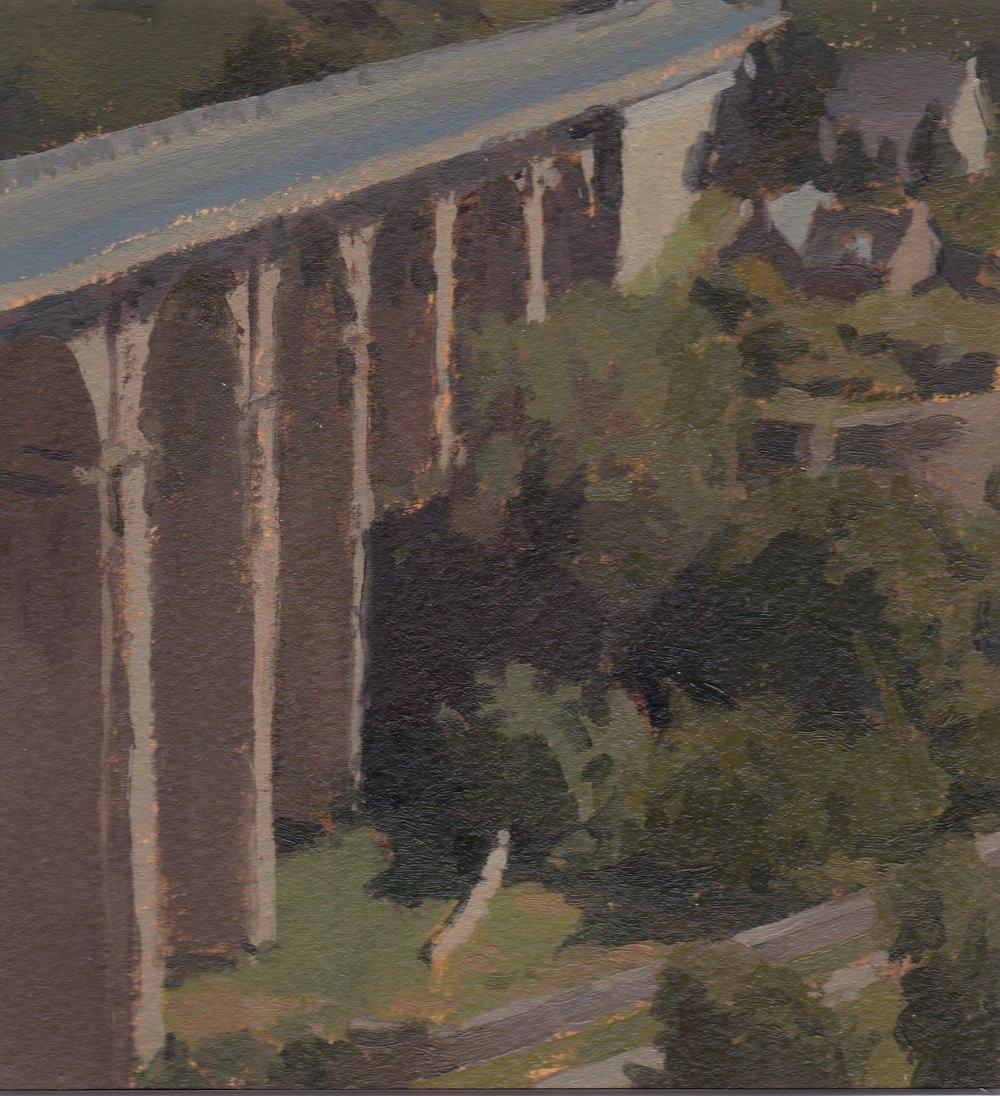 The Viaduct, Dinan, Oil on Paper, 6%22x6%22.jpg