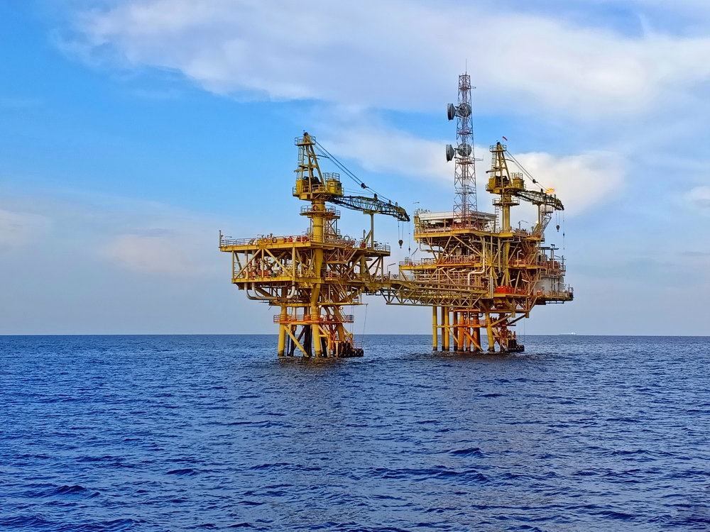 An offshore oil and gas production platform   Photo courtesy : Shutterstock