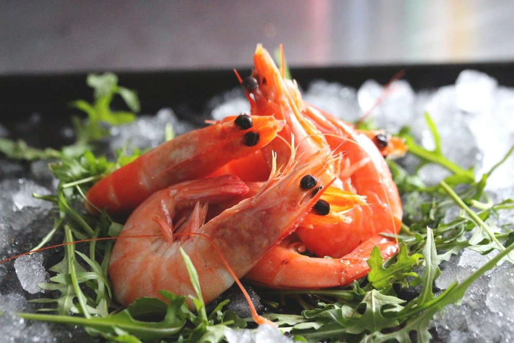 Shell-on prawns