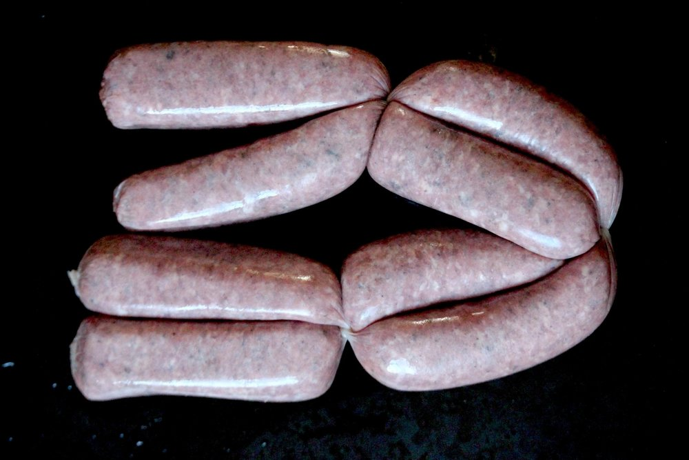 locally made venison sausages