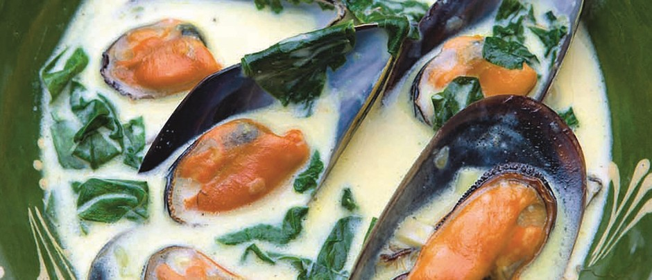 Mussels with Saffron and Spinach from Olive Magazine