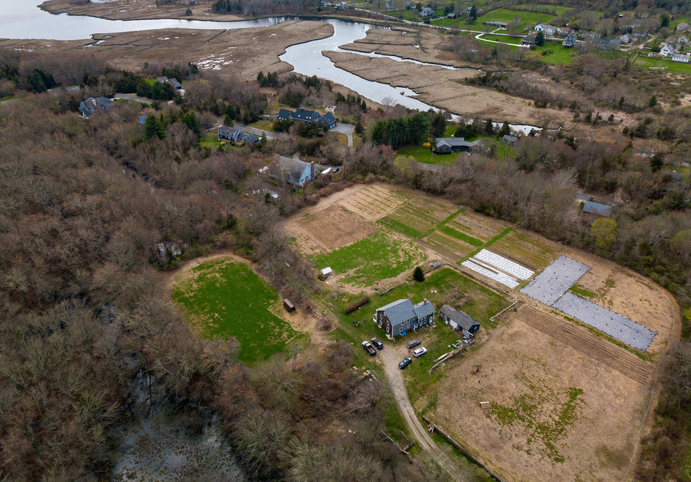 The farm from above and the West Branch of the Westport River. The village of Adamsville is just out of frame to the upper right.