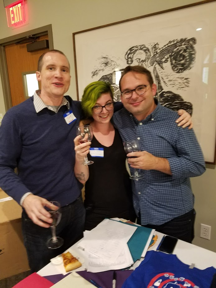 Barrelhouse Nonfiction Editor Tom McAllister, Art Director Killian Czuba, and Fiction Editor Joe Killiany at Conversations and Connections Pittsburgh 2016.