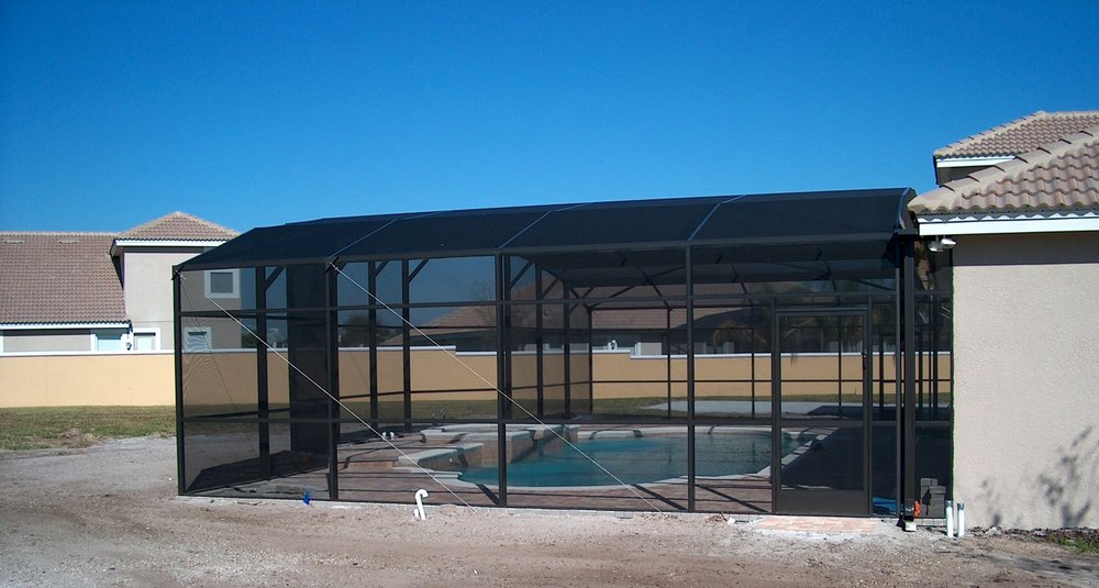 Screened pool designed by owner Dennis Loy
