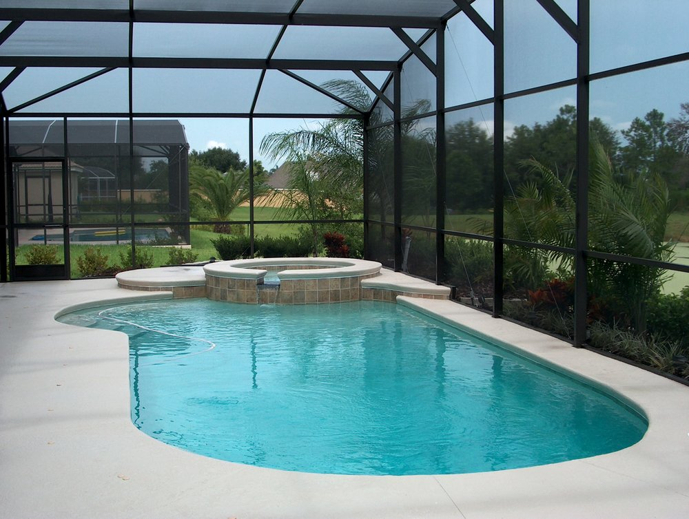 Inside a custom pool enclosure