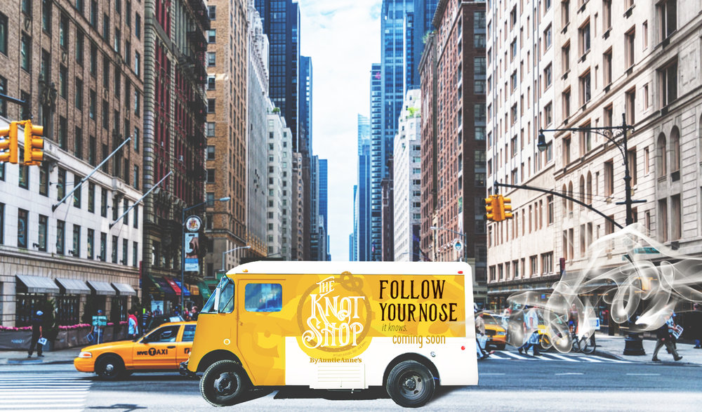 Instead of a food truck, an  smell  truck will circle the 5 block radius of the new Knot Shop location to announce the store's opening leaving behind the heavenly scent of buttery goodness
