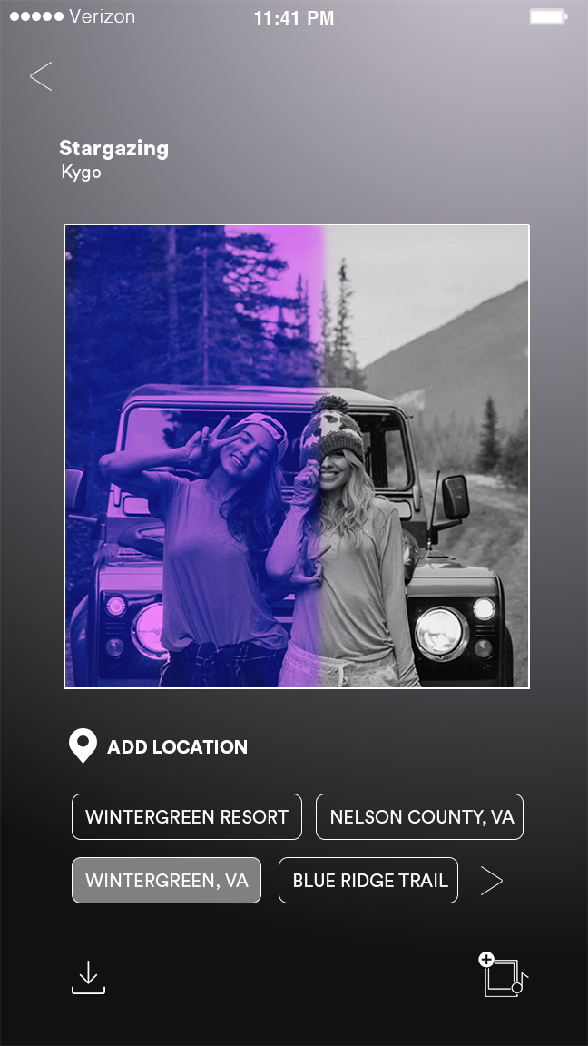 Once the photo is taken, listeners can choose from two additional filters (b&w, duo-tone), tag a location, and download the picture before adding it to the song.